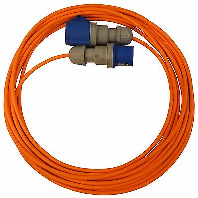 15m Caravan Camping Hook Up Cable 16A Site Orange Extension Lead Electric