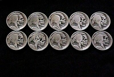 10 Lot Skull Hobo Nickel Native American Buffalo Nickel Folk Art Coins OHNS 1304