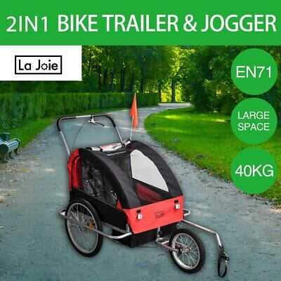 La Joie Kids Bike Trailer Bicycle 2 IN 1 Pram Stroller Children Jogger Red Black