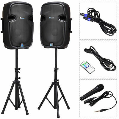 "Dual 15"" 2-way 3000W Powered Speakers w/ Bluetooth Mic Speaker Stands Control"