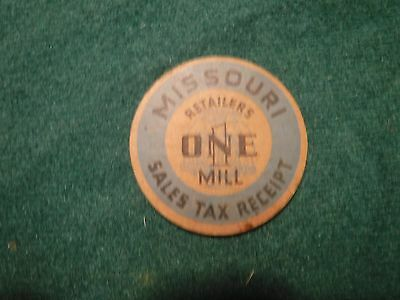 Vintage Missouri Retailers One Mill Sales Tax Reciept. Cardboard Token