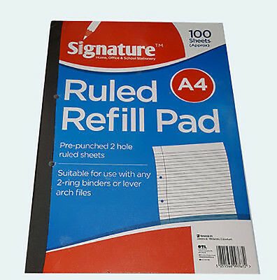New A4 100 Sheets 80GSM Refill Pad Ruled Paper Margin School Office Multipurpose