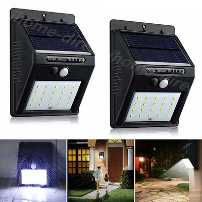 2x Motion Sensor 20 LED PIR Solar Power Security Wall Light Outdoor Garden 800mA