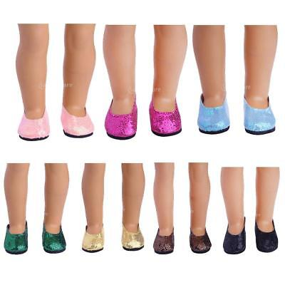 Handmade Sequins Doll Shoes Sneakers Flats for 18inch American Girl Dolls Accs