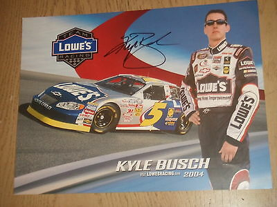 2004 Autograph 8x10 Card NASCAR Driver Kyle Busch Lowes Racing #5 Stats Schedule