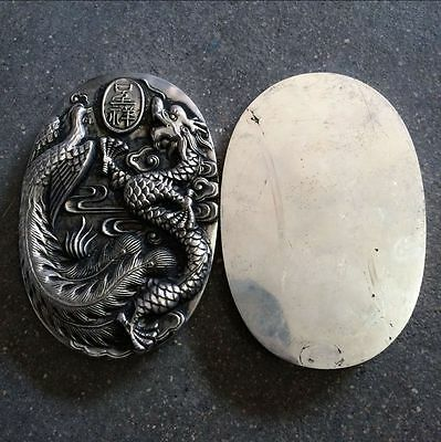 antique  Qing dynasty white copper silver - engraved dragon ink box.