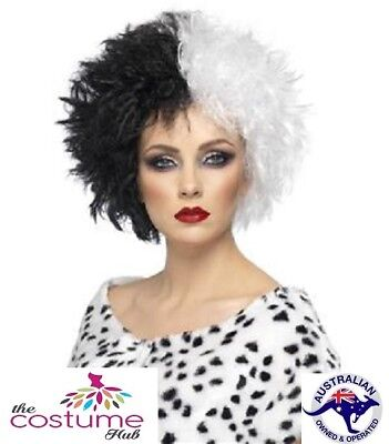 Black and White Cruella De Vil WIG Evil Madame Deville Punk
