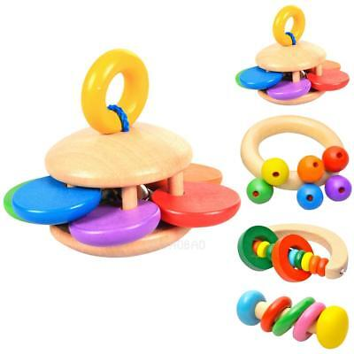 Wooden Bell Rattle Toy Baby Handbell Musical Educational Rattles #gib