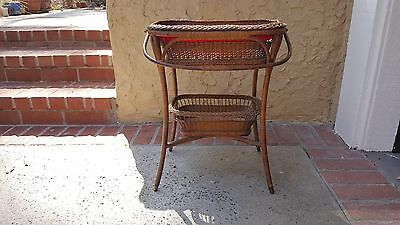 Heywood Wakefied Style Antique Wicker Sewing Stand Basket