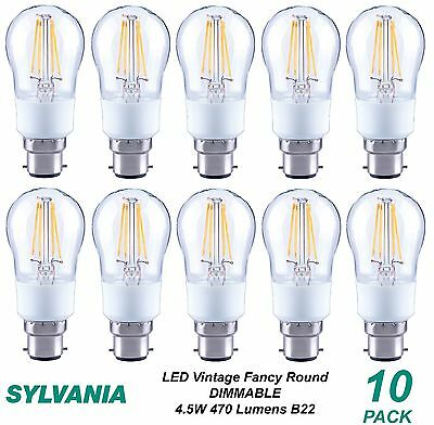 10 x LED 4W Dimmable Vintage Round Filament Light Globes / Bulbs B22 Bayonet