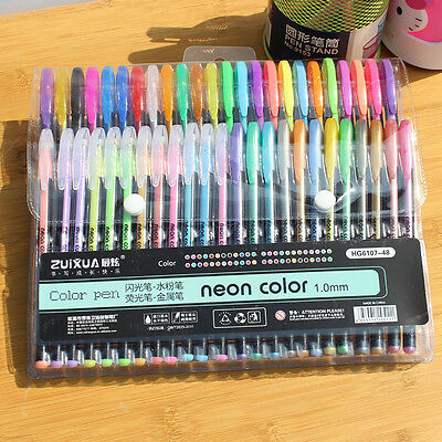 48pc Gel Pens Gel Refills Rollerball Pastel Neon Glitter Drawing Colors Mark Pen