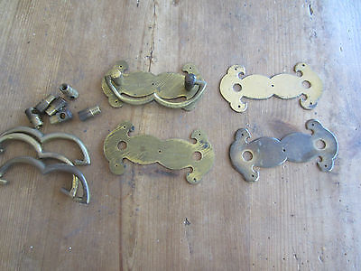 Lot of Vintage Brass Draw Pulls & Handles can be polished up