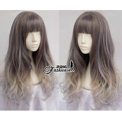 Long Wavy Lolita 60cm Multi-Color Mixed Dark Gray Lady Cosplay Full Wig +Wig Cap