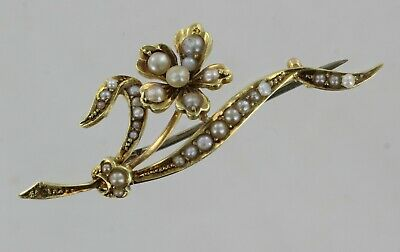 15ct Yellow gold Pearl Flower Design Brooch