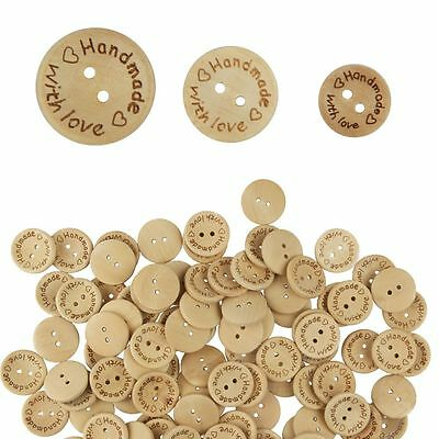 100Pcs Wooden 2 Holes Thin Edge Round Wood Sewing Buttons DIY Craft Scrapbooking