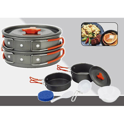 2pc Portable Camping Cookware Mess Kit Backpacking Camp Gear Outdoor Hiking