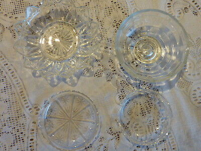 4 X Pressed Glass Round Dish Star Or Daisy Pattern