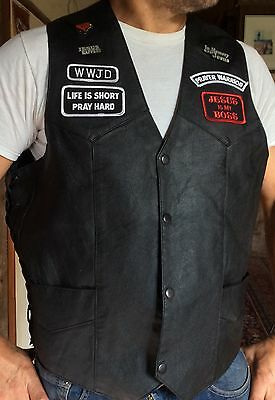 Vinyl CHRISTIAN BIKER VEST Jesus patches badges Harley Davidson motorcycles cool