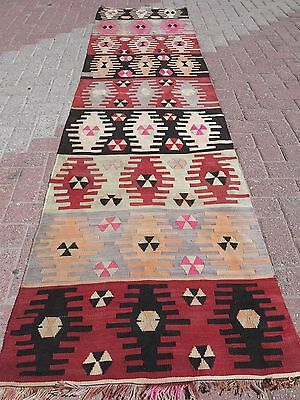 "Vintage Turkish Kilim Rug Runner,Hallway Rug 29,9""x111,4""Long Rug,Carpet Runner"