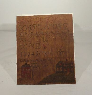Antique Early Folk Americana Needlework Sampler Alphabet Signed