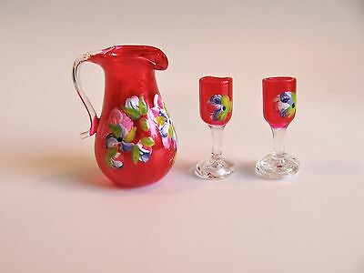 dollhouse doll house miniature  GLASS PITCHER AND GLASSES SET OF 3 RED