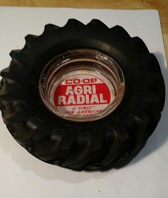 Vtg Co-Op Agri Radial Tractor Tire Store Ashtray Advertising