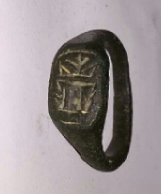 Ancient Authentic Roman Bronze Ring  Fully Intact & Wearable Sz 9.5