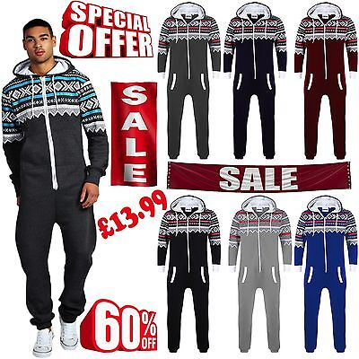 Men New All IN ONE Aztec Printed One Piece Fleece Hoody Jumpsuit Playsuit S-XXL