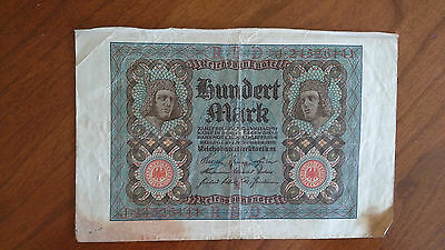 1920 German 100 Hundert Mark Banknote Reichsbanknote Paper Currency Circulated