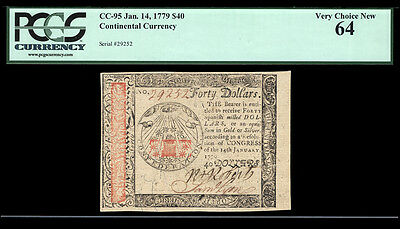 $40 Jan. 14, 1779 Continental Currency FR CC-95 PCGS 64 ONE OF THE FINEST KNOWN