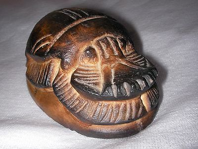 Old Egyptian Carved Stone Scarab Beetle Arabic & Hieroglyphs Paperweight 11oz 4""