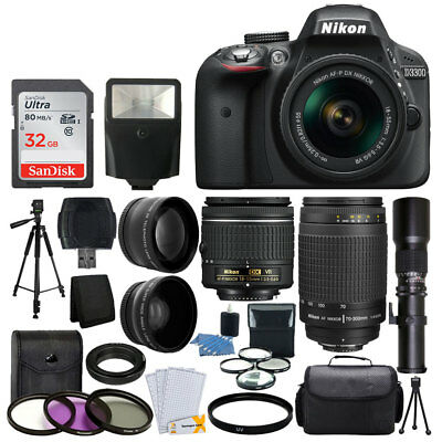 Nikon D3300 DSLR Camera 9 Lens 18-55 VR +70-300 +500MM + 32GB Best Value Bundle
