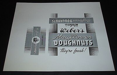 1950's Weber's Mayflower Doughnuts Box proof Donuts