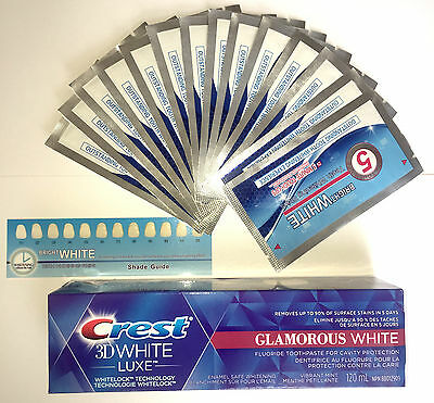 28 Onuge Teeth Whitening White Strips + Crest3D White Glamorous Luxe Toothpaste