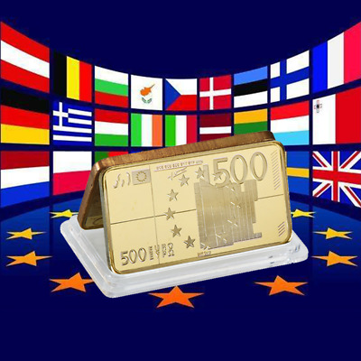 WR 1 Oz Fine Gold Bullion Bar Europe 500 Euro Art Bank Note Ingot Business Gifts