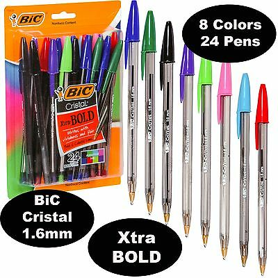 BiC Cristal 1.6 mm Colors, Xtra Bold Point, 18838, Pack of 24 Pens, 8 Ink Colors