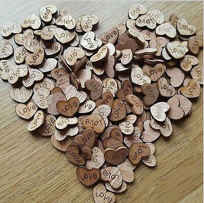 Wooden Hearts With Love - Wedding Charms Craft Scrapbook Card Embellishments