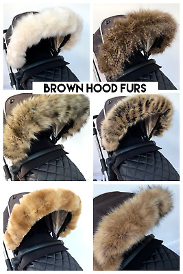 Pram Pushchair Brown Faux Fur Hood Trim- Fits All Hoods- Luxury Super Soft