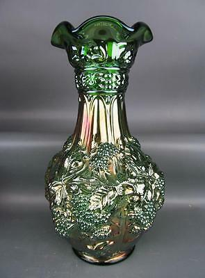 MODERN CARNIVAL GLASS - IMPERIAL LOGANBERRY Re-Issue Green Ruffle-Top Vase 1520