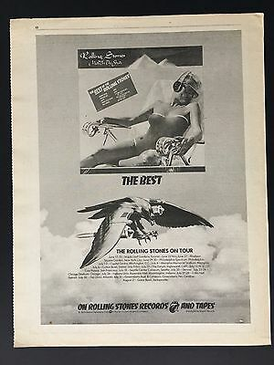 """THE best of ROLLING STONES 1975 Original 11X14"""" Print Ad With Tour Dates"""