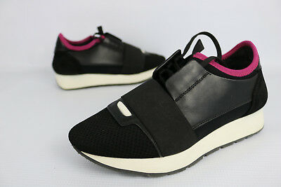 dd1e83501fdd Balenciaga Race Runner Black Pink Marble Leather Suede 36 US 6 Authentic