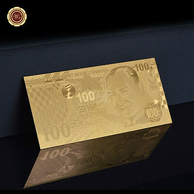 WR .99 Gold Turkey 100 Lira Money 24K Gold Banknote New Collection Gifts for Men