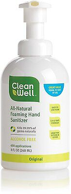 All-Natural Foaming Hand Sanitizer, Cleanwell, 8 oz