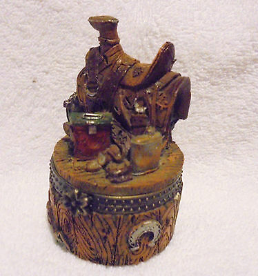 """Western Saddle Detailed Decorative Trinket Box...approx 3.5"""" Tall..nice"""