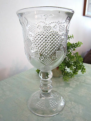 AVON HEARTS & DIAMONDS CLEAR FOOTED STEM GOBLET by FOSTORIA-1978