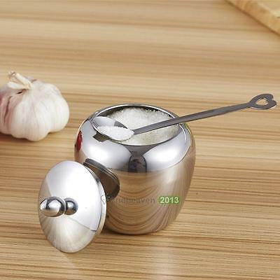 Single Stainless Steel Kitchen Sugar Bowl Condiments Container Small Box Case
