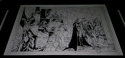Batman Superman #7 DC New 52 Brett Booth Original Art Sideways Page 11x17