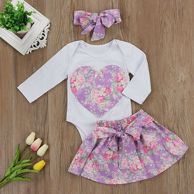 AU Stock Newborn Baby Girls Long Sleeve Romper Skirt Flower Dress Outfit Clothes