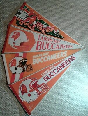 4 Vintage Tampa Bay Buccaneers NFL Full Size Pennant lot 1976-1996 Creamsicle