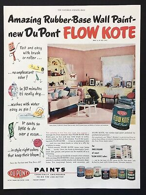1952 Vintage Print Ad DUPONT FLOW KOTE Pink Paint Decor Home Wall